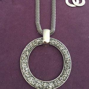 Circular Rhinestone Silver Necklace